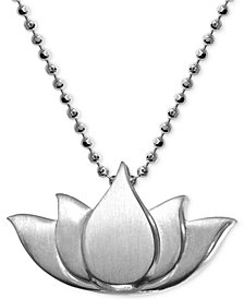 Alex Woo Little Faith Lotus Blossom Pendant Necklace in Sterling Silver