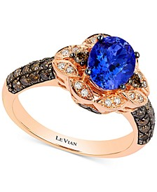 Chocolatier® Blueberry Tanzanite (1 ct. t.w) and Diamond (2/3 ct. t.w) Ring in 14k Rose Gold, Created for Macy's