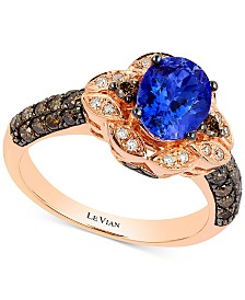 Le Vian Chocolatier® Blueberry Tanzanite (1 ct. t.w) and Diamond (2/3 ct. t.w) Ring in 14k Rose Gold, Created for Macy's