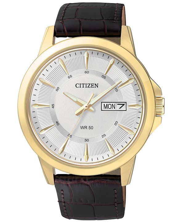 Citizen Men's Brown Leather Strap Watch 41mm BF2018-01A