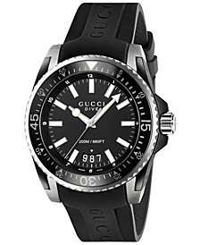 Men's Swiss Diver Black Rubber Strap Watch 45mm YA136204
