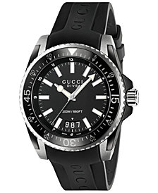 Gucci Men's Swiss Dive Black Rubber Strap Watch 45mm YA136204