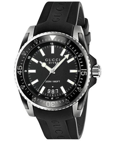 Gucci Men's Swiss Dive Black Rubber Strap Watch 45mm YA136204