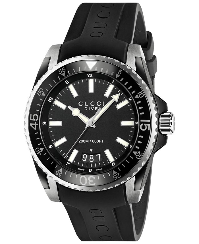 Gucci - Men's Swiss Dive Black Rubber Strap Watch 45mm YA136204
