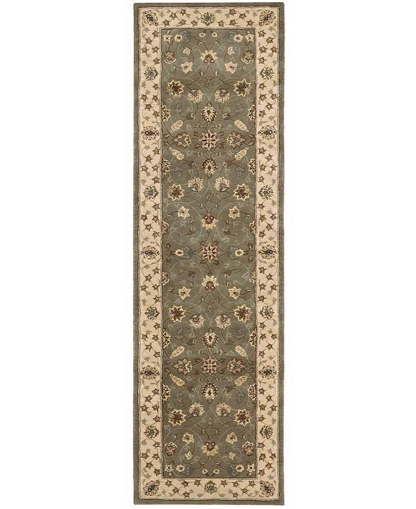 """Nourison Wool and Silk 2000 2003 Olive 2'6"""" x 12' Runner Rug"""