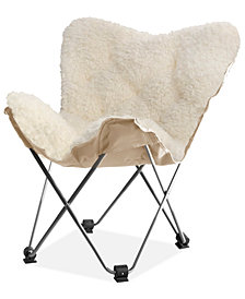 Adrian Faux Fur Butterfly Chair, Quick Ship