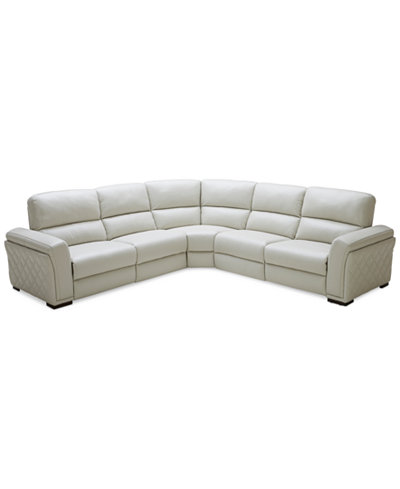Closeout Jessi 5 Pc Leather Sectional Sofa With 3 Power