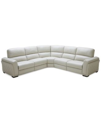 Jessi 5 Pc Leather Sectional Sofa With 2 Power Recliners, Created For