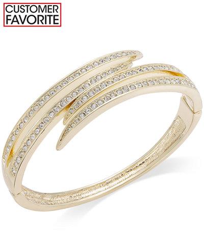 Charter Club Gold-Tone Crystal Pavè Bypass Bracelet
