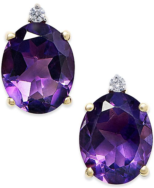 Macy's Amethyst (4-1/2 ct. t.w.) and Diamond Accent Stud Earrings in 14k Gold