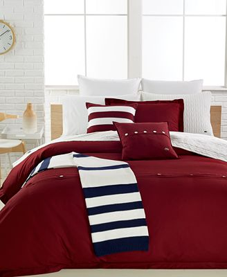 CLOSEOUT! Lacoste Home Solid Cabernet Brushed Twill Bedding Collection