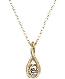 Sirena Diamond Twist Pendant Necklace in 14k Gold (1/8 ct. t.w.)