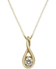 Sirena Diamond Twist Pendant Necklace in 14k Gold (1/8 ct. t.w.)
