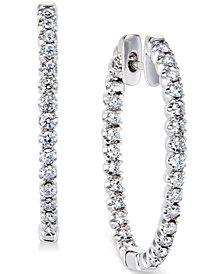 Diamond Hoop Earrings in 14k White Gold (1 ct. t.w.)