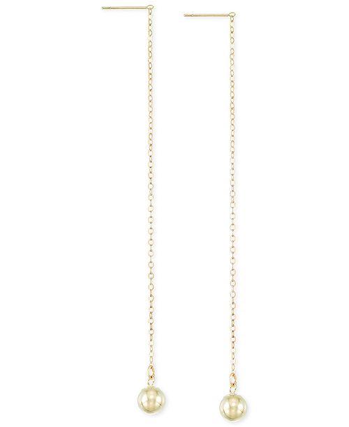 Macy's Ball Chain Linear Earrings in 10k Gold