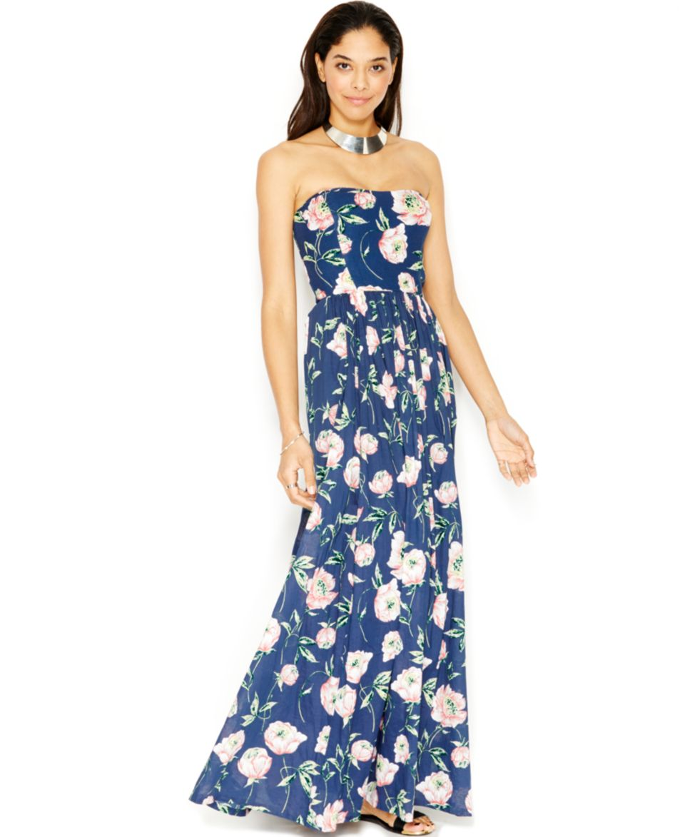 French Connection Strapless Floral Print Maxi Dress Dresses Women