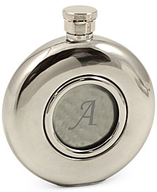 Bey-Berk Monogramed 5 oz. Stainless Steel Mirror Finish Flask with Glass Center