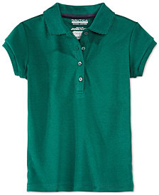 Nautica School Uniform Picot-Trim Polo, Little Girls