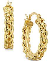 Heart Rope Chain Hoop Earrings in 14k Gold