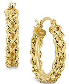 Heart Rope Chain Hoop Earrings in 14k Gold