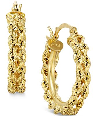 Heart Rope Chain Hoop Earrings in 14k Gold Earrings Jewelry