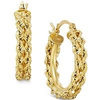 Macys Heart Rope Chain Hoop Earrings in 14k Gold Deals