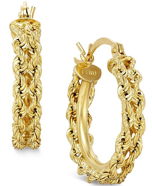 Macy's Heart Rope Chain Hoop Earrings in 14k Gold