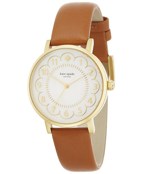 kate spade new york Women's Metro Luggage Leather Strap Watch 34mm 1YRU0835