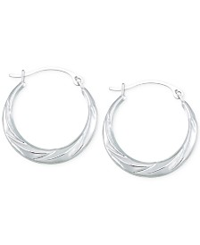 Hoop Earrings in 10k White Gold