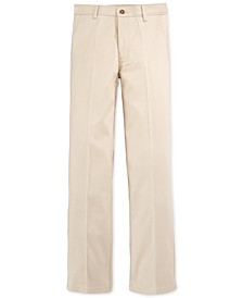 Flat-Front Twill School Uniform Pants, Big Boys