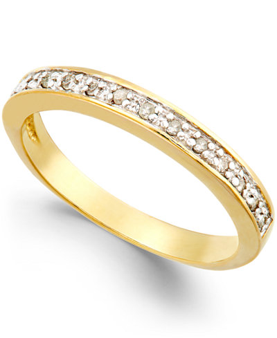 Diamond Band (1/10 ct. t.w.) in 18k Gold over Sterling Silver