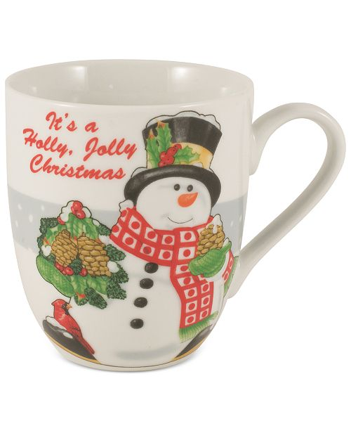 Fitz and Floyd Set of Two Holiday Mugs Collection Holly Berry Snowman Set