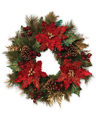 Gerson Red & Gold Poinsettia Pine Wreath - Holiday Lane ...
