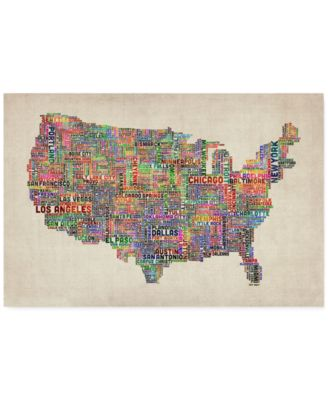 "'US Cities Text Map VI' Canvas Print by Michael Tompsett, 22"" x 32"""