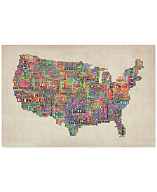 "'US Cities Text Map VI' Canvas Print by Michael Tompsett, 18"" x 24"""