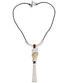 Robert Lee Morris Soho Two-Tone Geometric Long Pendant Necklace