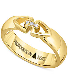 Proposition Love Unisex Diamond Triangle Motif Wedding Band in 14k Gold (1/10 ct. t.w.)