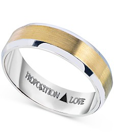 Proposition Love Mens Wedding Band In 14K White And Yellow Gold
