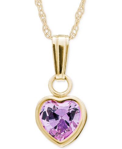 Children's Purple Crystal Heart Pendant Necklace in 14k Gold