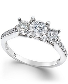 Diamond 3-Stone Engagement Ring (1/2 ct. t.w.) in 14k White Gold