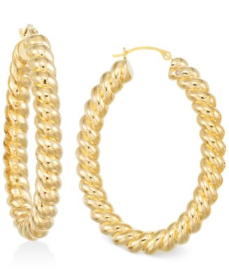 Signature Gold Ribbed Hoop Earrings in 14k Gold over Resin
