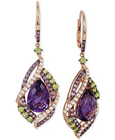 Le Vian Crazy Collection® Multi-Stone Drop Earrings (12-3/4 ct. t.w.) in 14k Rose Gold, Created for Macy's