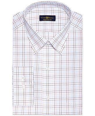 Club Room Estate Wrinkle Resistant Chestnut Check Dress Shirt