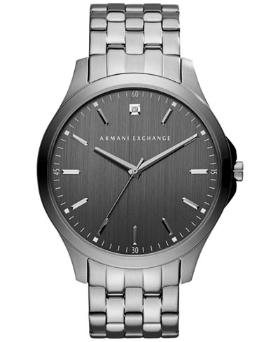 A x armani exchange men 39 s diamond accent gunmetal ion plated stainless steel bracelet watch 46mm for Armani exchange watches