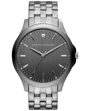 AX Armani Exchange Men's Diamond Accent Gunmetal Ion-Plated Stainless Steel Bracelet Watch 46mm AX2169