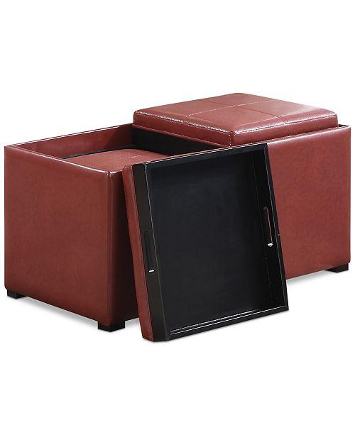 Simpli Home  Avalon Faux Leather 5-Piece Storage Ottoman, Quick Ship