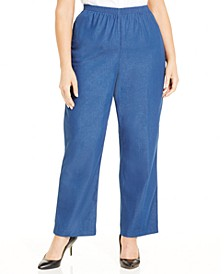 Plus Size Classic Denim Pull-On Straight-Leg Pants