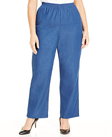 Alfred Dunner Plus Size Denim Pull-On Straight-Leg Pants