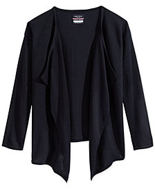 Nautica Plus Girls' Uniform Drape-Front Cardigan