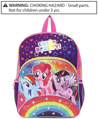 """$6.39 My Little Pony Little Girls' Rainbows Sequins 16"""" Backpack"""